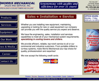 Clinton SEO by Mxt Media: Morris Mechanical — Homepage (before).